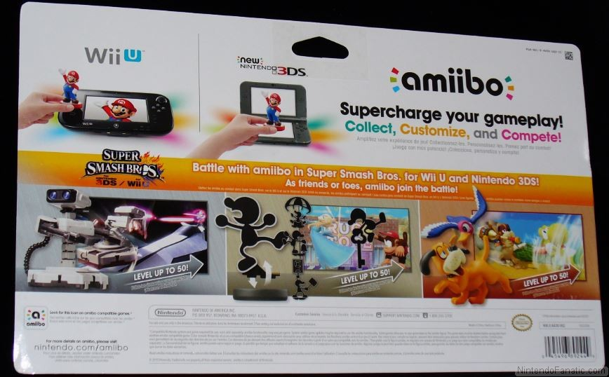 Super Smash Bros. Duck Hunt, Mr. Game & Watch and R.O.B Amiibo Retro 3-Pack - Back of Box View