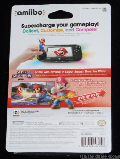 Super Smash Bros. Mario Amiibo - Back of Box View