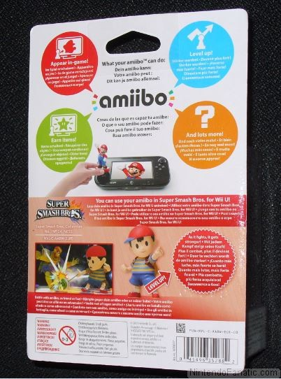 Super Smash Bros. Ness Amiibo - Back of Box View