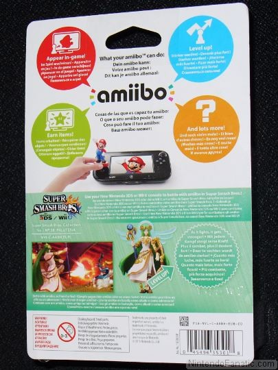 Super Smash Bros. Palutena Amiibo - Back of Box View