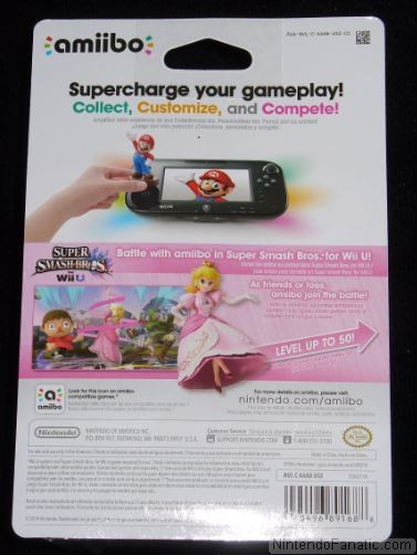 Super Smash Bros. Princess Peach Amiibo - Back of Box View