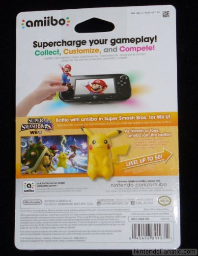 Super Smash Bros. Pikachu Amiibo - Back of Box View