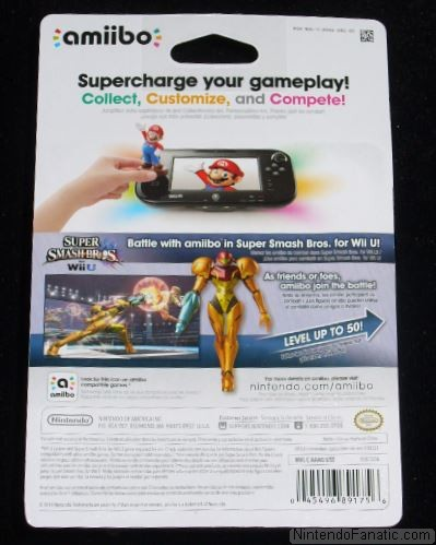 Super Smash Bros. Samus Amiibo - Back of Box View