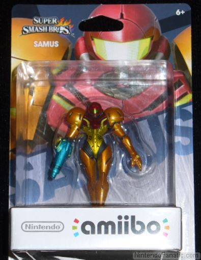 Super Smash Bros. Samus Amiibo - Front of Box View