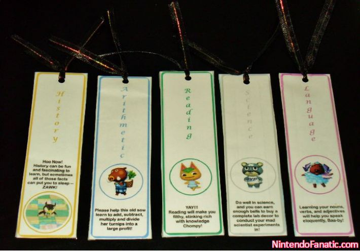 Animal Crossing School Subject Bookmarks